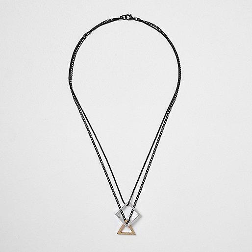 Black shapes pendant necklace
