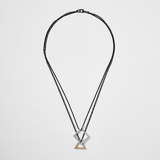 Black shapes pendant necklace