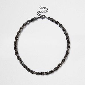 Collier chaîne torsadé noir