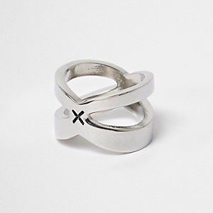 Silver tone cross ring