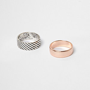 Silver tone and rose gold tone ring multipack