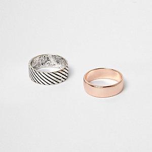 Ringe in Silber und Roségold im Multipack