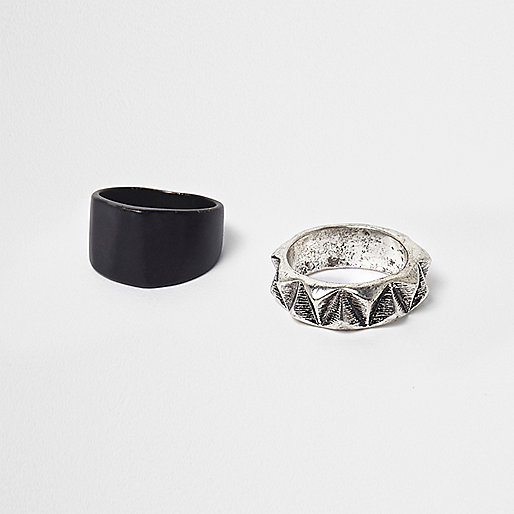 Black and silver tone ring multipack