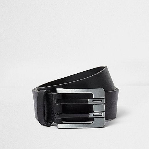 Black double prong leather belt