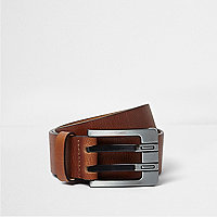 Tan double prong leather belt
