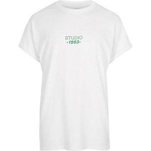 White 'studio' print oversized T-shirt