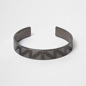 Gunmetal tone aztec cuff bracelet