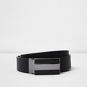 Black leather matte silver tone plate belt