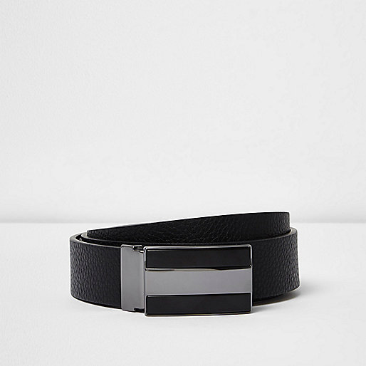 Black reversible leather plate buckle belt