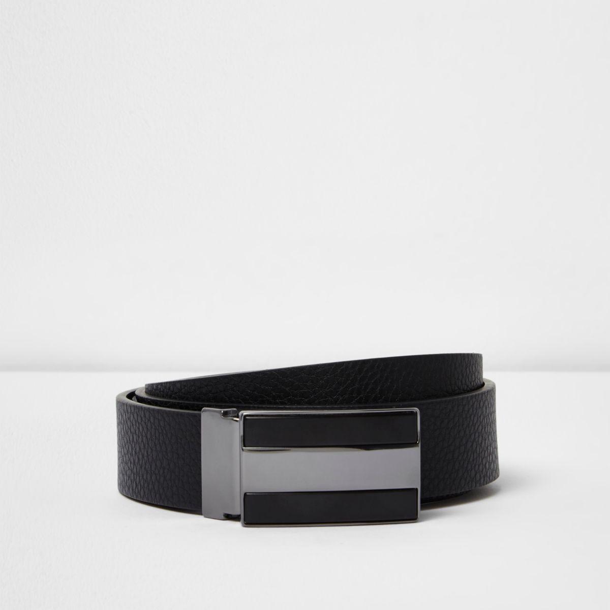 Black reversible leather plate buckle belt