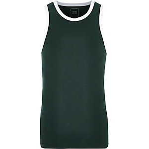 Dark green muscle fit ringer vest