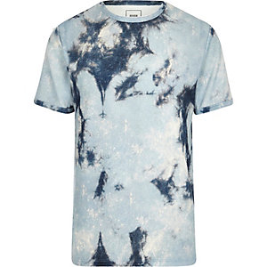 Blue tie dye towel slim fit T-shirt