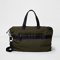 Dark khaki green canvas holdall