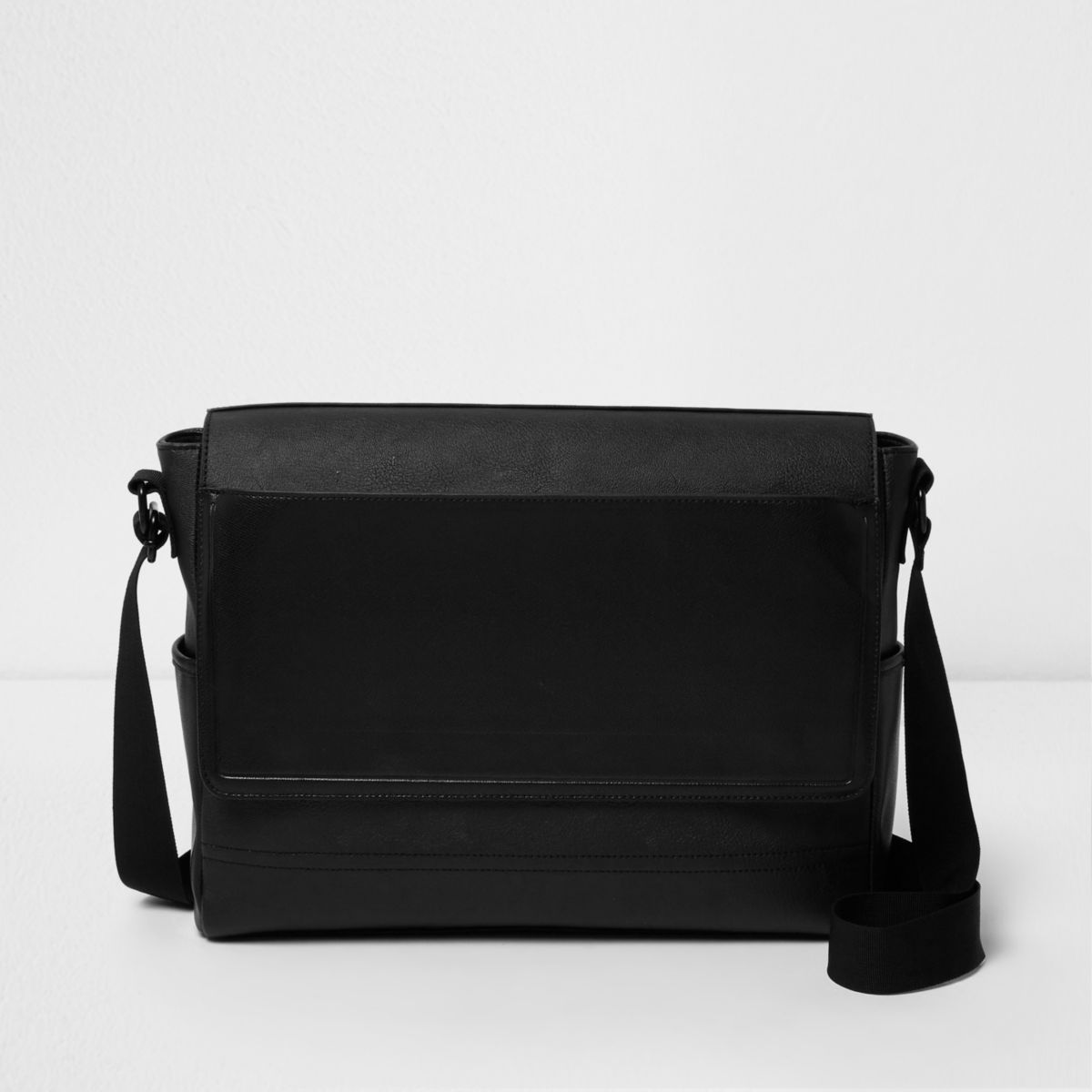 Black Flapover Satchel Bag