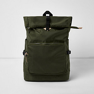 Khaki green roll top backpack