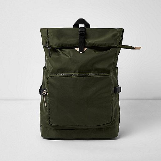 Khaki green roll top backpack