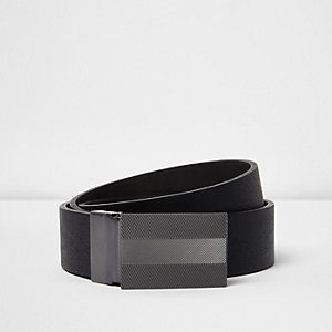 Black engraved silver tone plate belt
