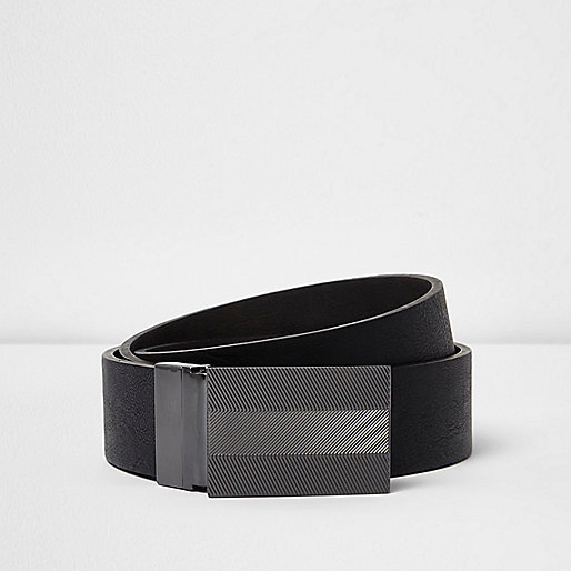 Black leather engraved silver tone plate belt