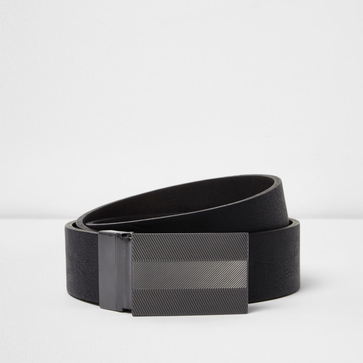Black leather textured plate reversible belt