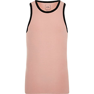 Pink muscle fit ringer vest