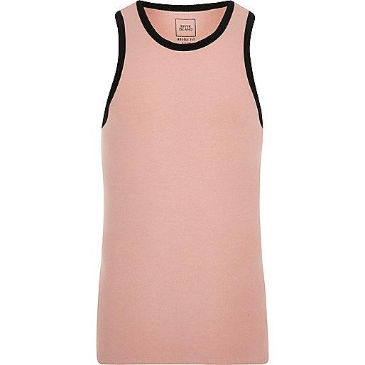 Pink muscle fit ringer vest