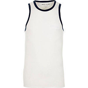 White muscle fit ringer vest