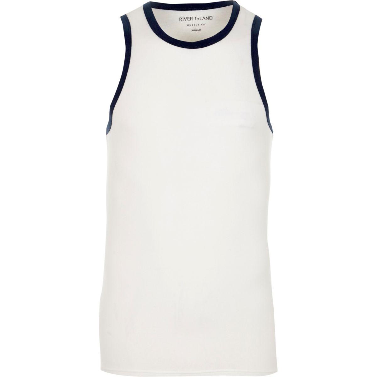 White muscle fit ringer vest