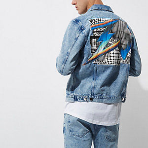 Blue Felipe Pantone stone wash denim jacket
