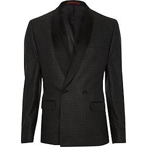 Veste de costume skinny à motif pied-de-poule gris métallisé