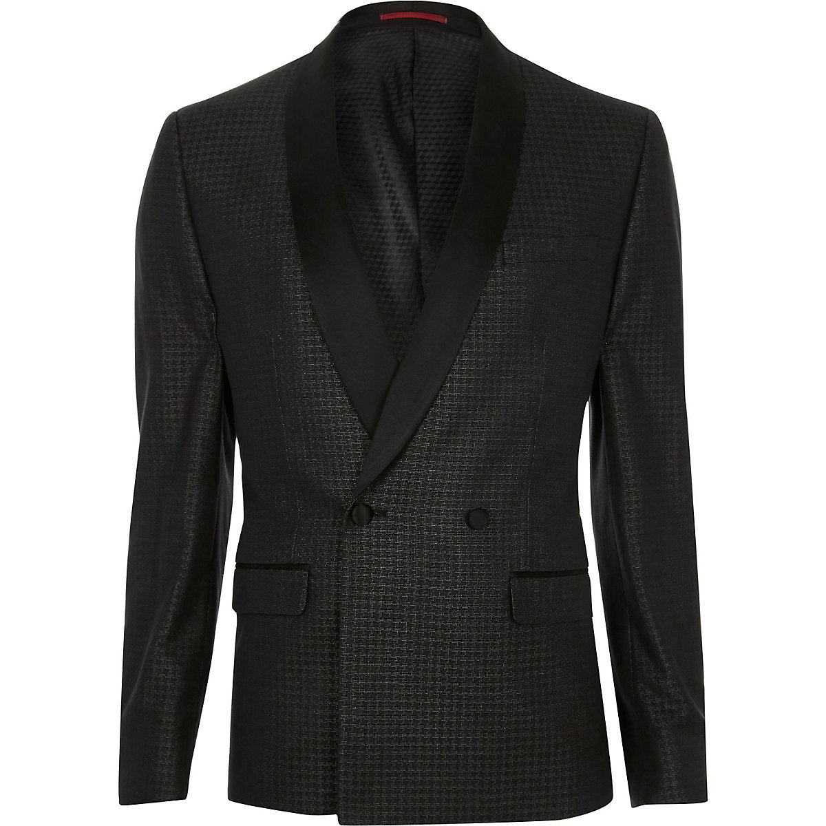 Grey metallic houndstooth skinny suit jacket