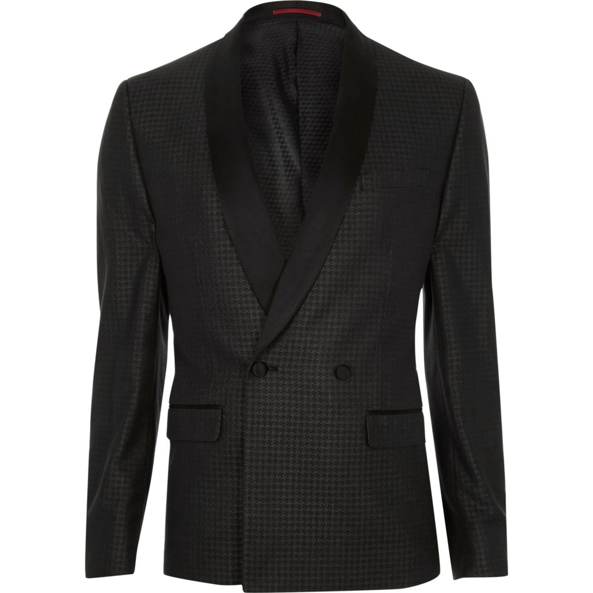 Grey metallic dogtooth skinny suit jacket