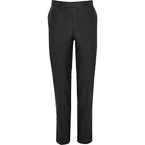 Pantalon de costume skinny à motif pied-de-poule gris métallisé