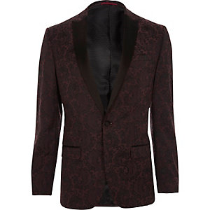 Blazer slim en satin rouge à revers pointu