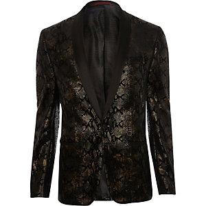 Gold snake print skinny blazer