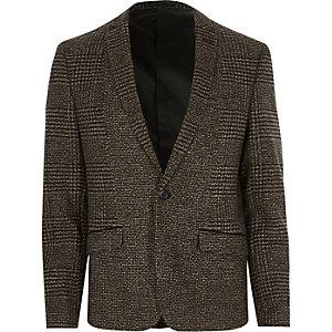 Bruine geruite skinny blazer