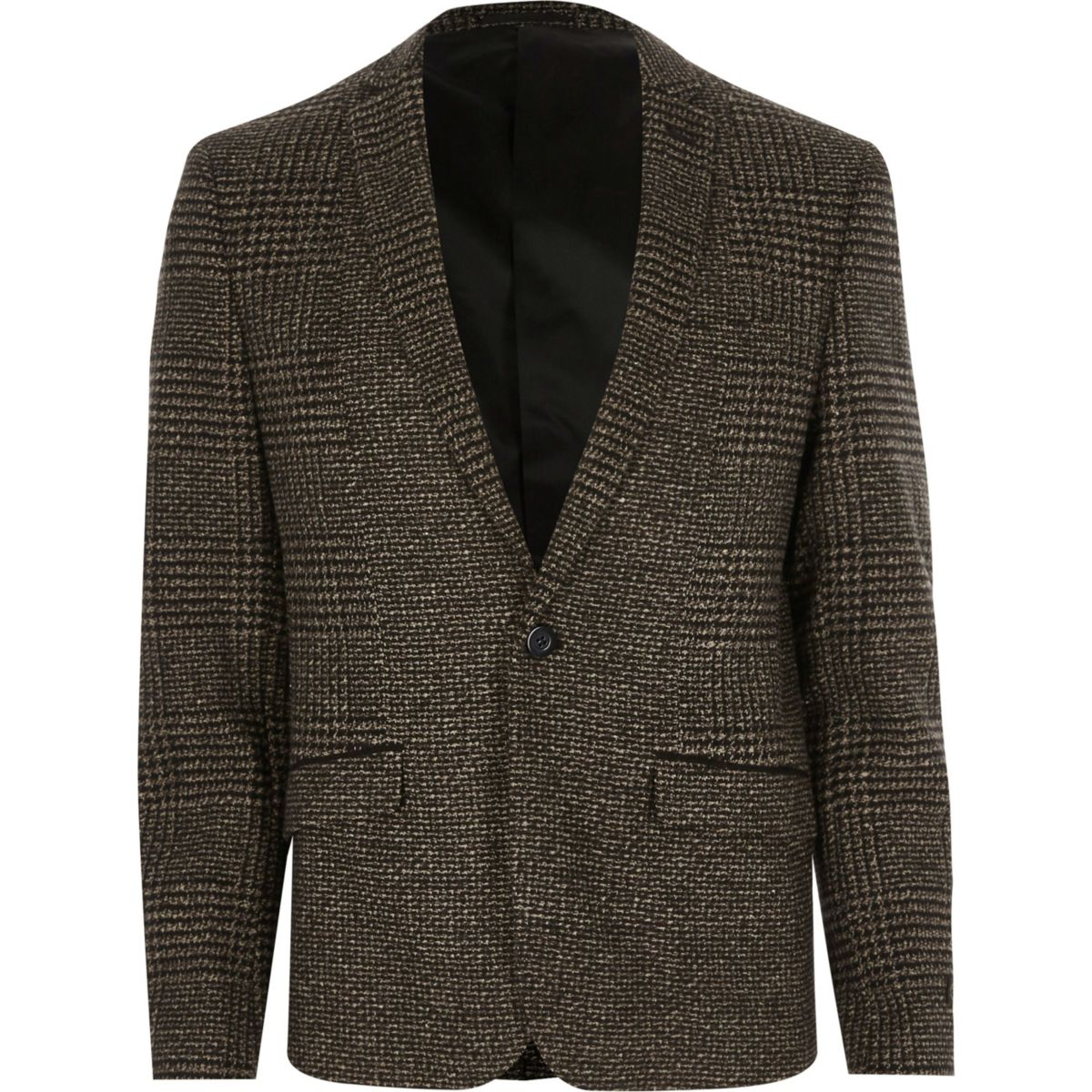 Brown check skinny blazer
