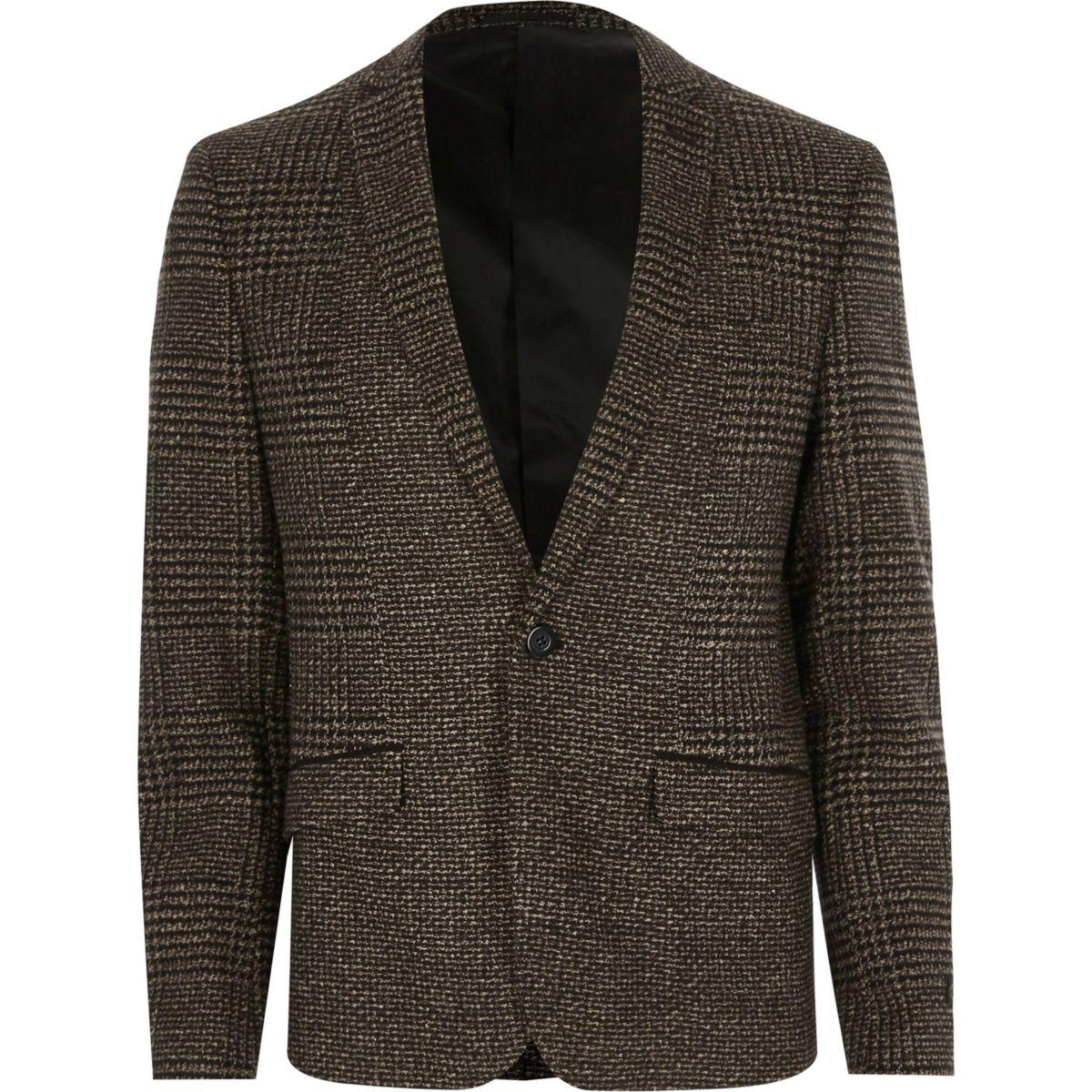 Brown check skinny blazer