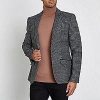 Grey check skinny blazer