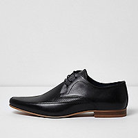Black perforated leather derby shoes