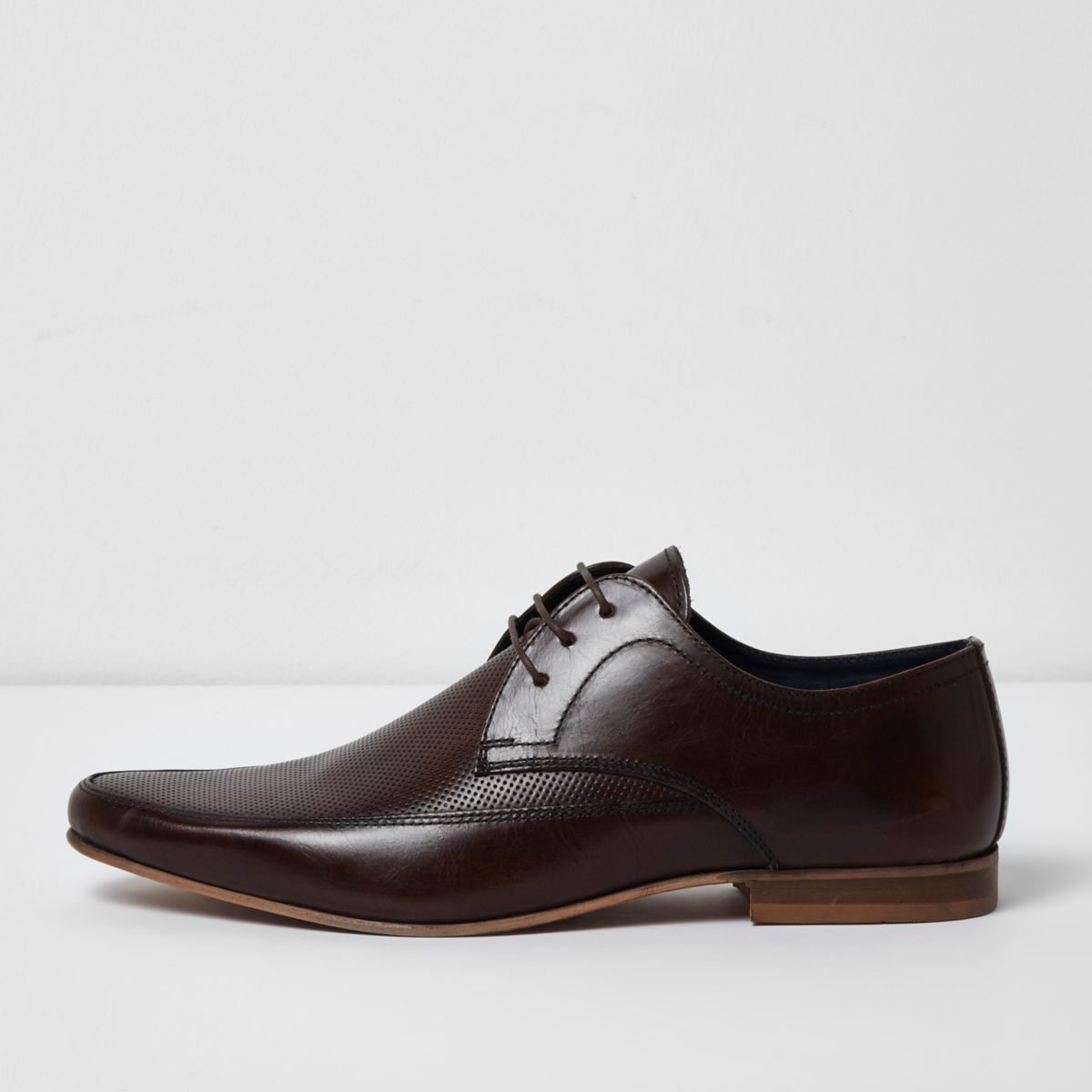 Dark brown perforated leather derby shoes