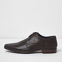 Dark brown pointed formal lace-up shoes
