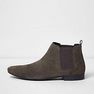 Grey suede chelsea boots