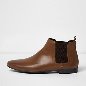Bottines chelsea en cuir marron