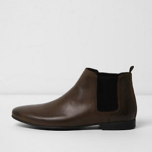Dunkelbraune Chelsea-Stiefel aus Leder