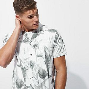Wit gebloemd slim-fit overhemd met korte mouwen