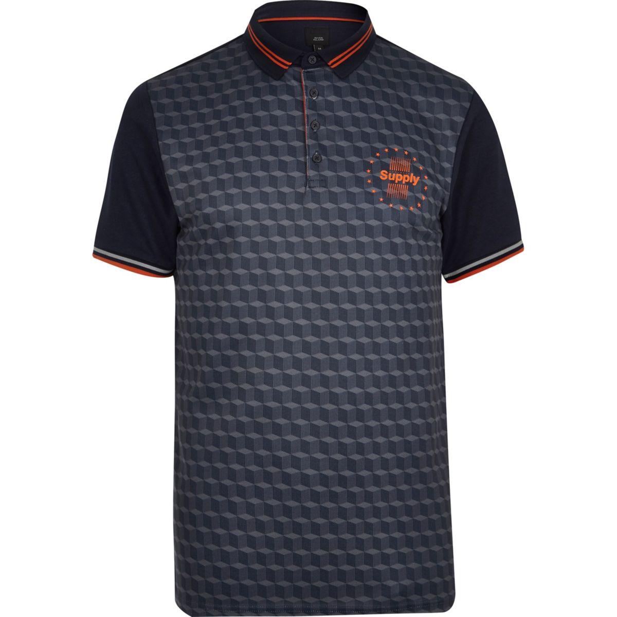 Navy print color block slim fit polo shirt
