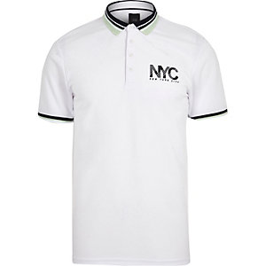 White 'NYC' print slim fit polo shirt