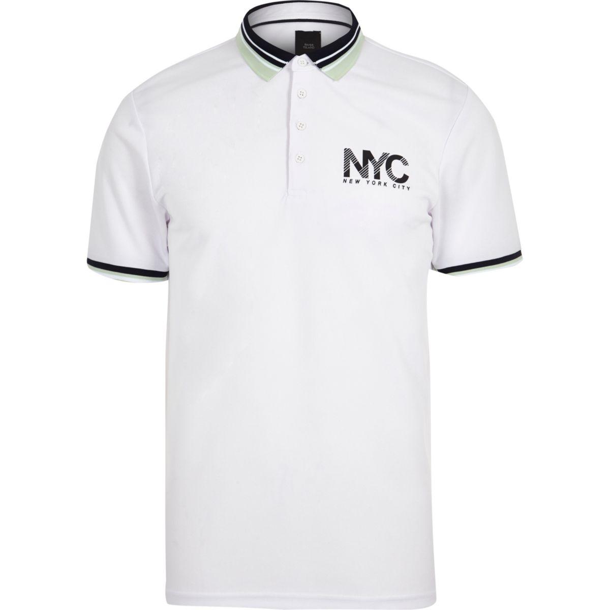 White 'NYC' print slim fit polo shirt