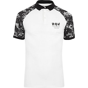 White mono print raglan muscle fit polo shirt