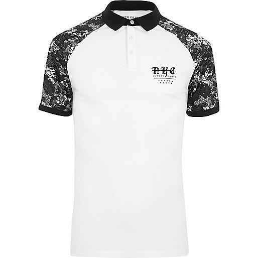 White mono print raglan muscle fit polo shirt
